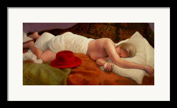 Realism Framed Print featuring the painting Red Hat 7 by Donelli DiMaria