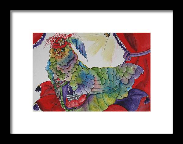 Chicken Framed Print featuring the painting Red Hat Chick With Purse by Gina Hall