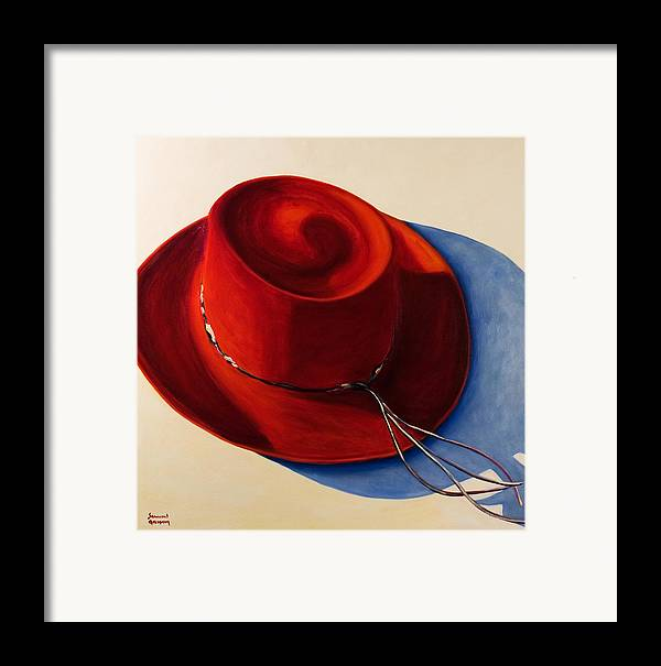 Red Hat Framed Print featuring the painting Red Hat by Shannon Grissom