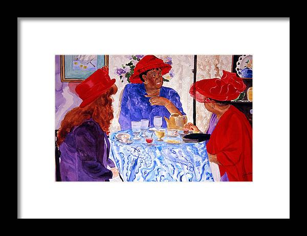Red Hat Framed Print featuring the painting Red Hatters Chatter by Jean Blackmer