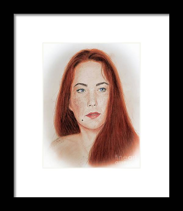 Red Headed Framed Print featuring the drawing Red Headed Beauty by Jim Fitzpatrick