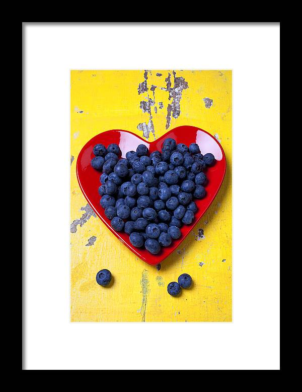 Red Heart Shaped Plate Framed Print featuring the photograph Red heart plate with blueberries by Garry Gay