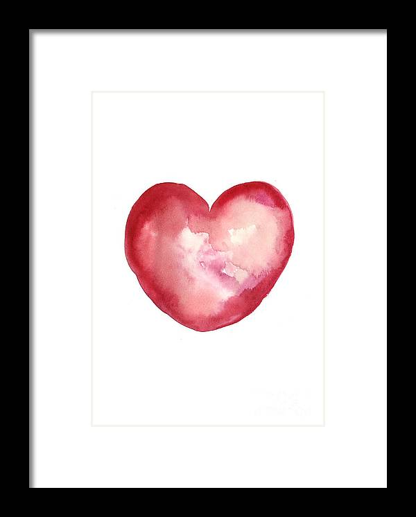 Valentine's Day Framed Print featuring the painting Red Heart Valentine's Day Gift by Joanna Szmerdt