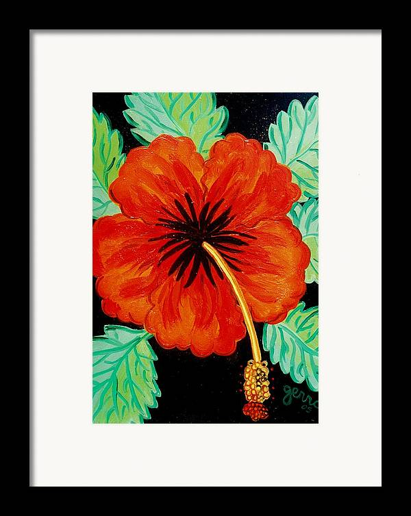Hibiscus Artwork Framed Print featuring the painting Red Hibiscus by Helen Gerro