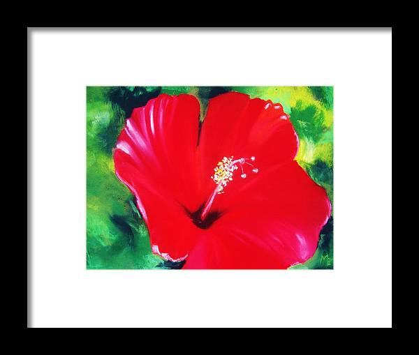 Bright Flower Framed Print featuring the painting Red Hibiscus by Melinda Etzold