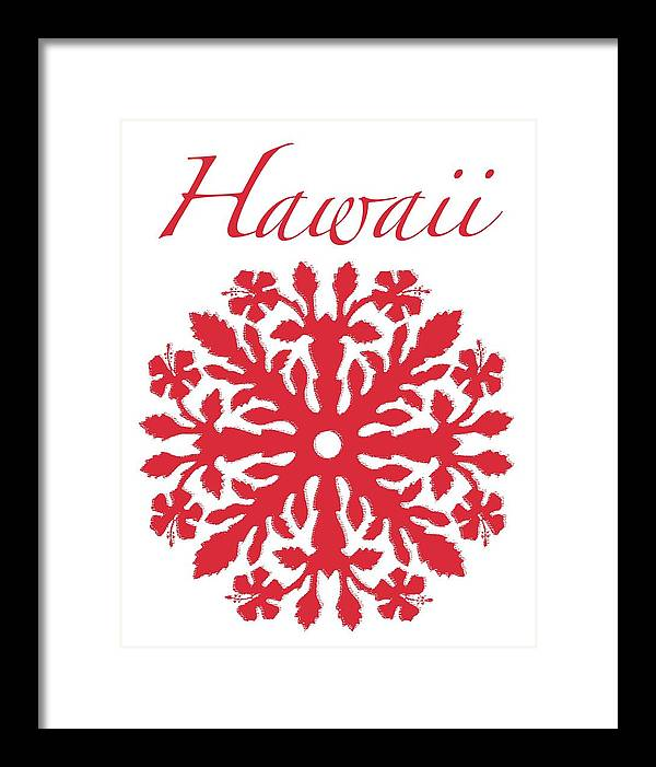 Hawaii T-shirt Framed Print featuring the digital art Hawaii Red Hibiscus Quilt by James Temple