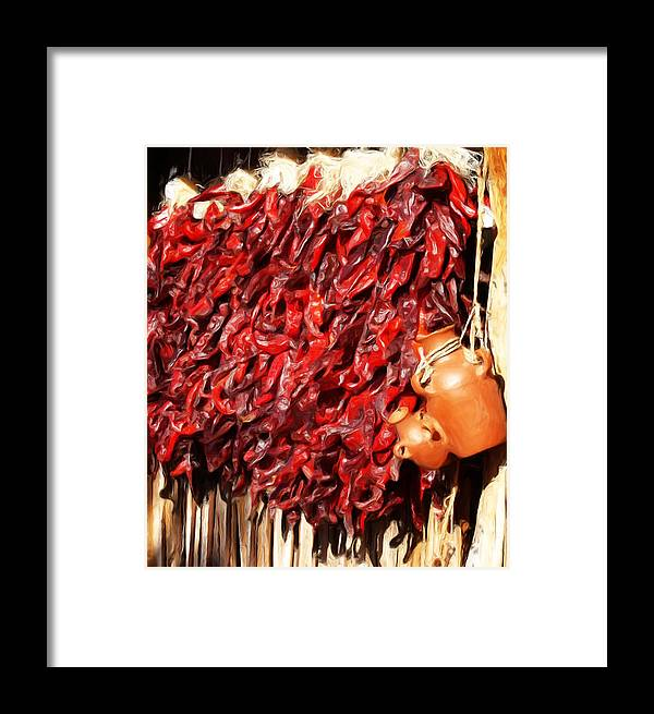 Red Framed Print featuring the painting Red Hot Peppers by Linda Morland