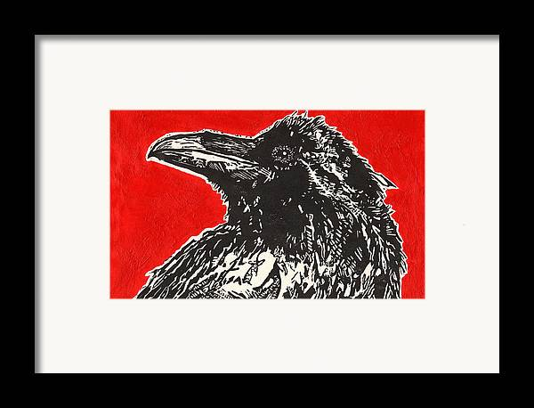 Linocut Framed Print featuring the painting Red Hot Raven by Julia Forsyth
