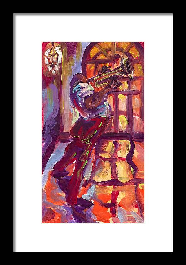 Red Framed Print featuring the painting Red Hot Trumpet by Saundra Bolen Samuel