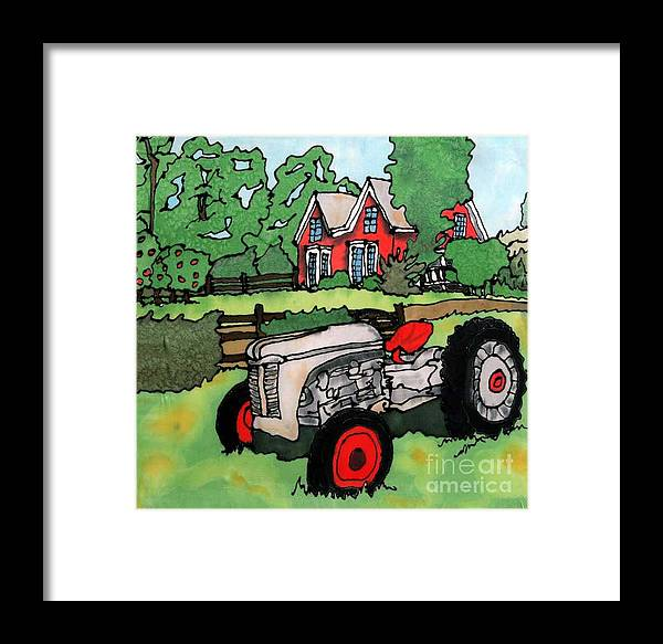Silk Framed Print featuring the painting Red House And Tractor by Linda Marcille