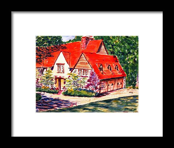 Watercolor Framed Print featuring the painting Red House In Clayton by Horacio Prada
