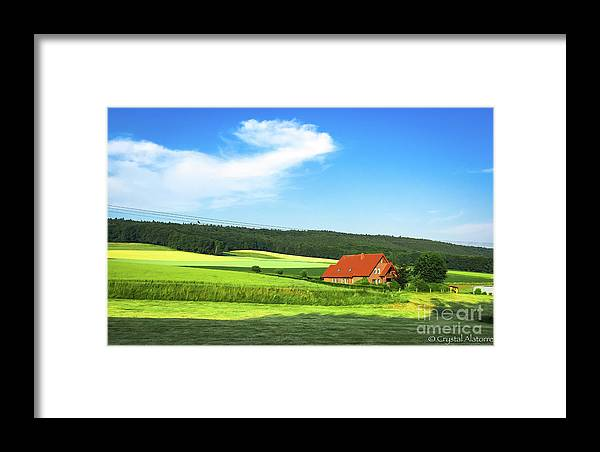 Red House Framed Print featuring the photograph Red House In Field - Amshausen, Germany by Crystal Alatorre