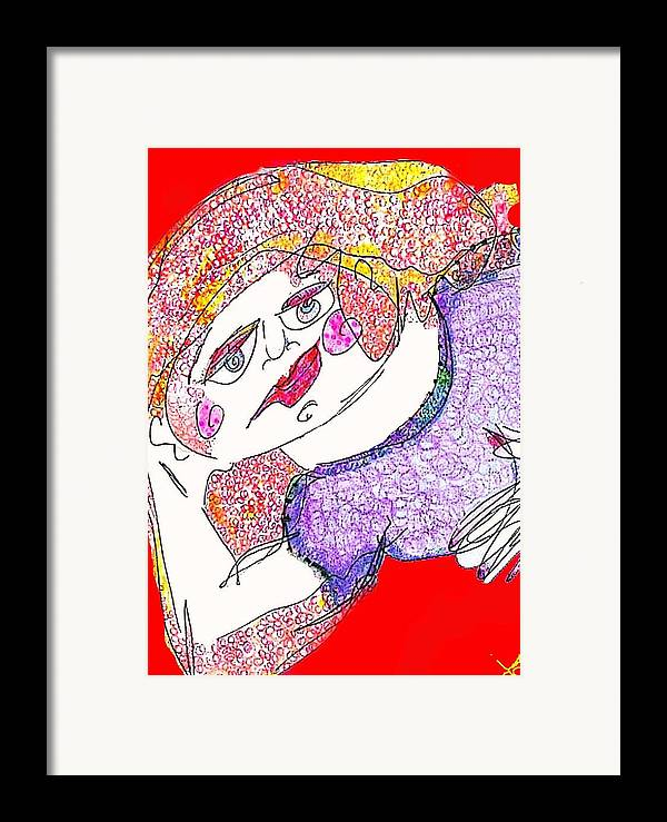 Woman Framed Print featuring the digital art Red by Joyce Goldin
