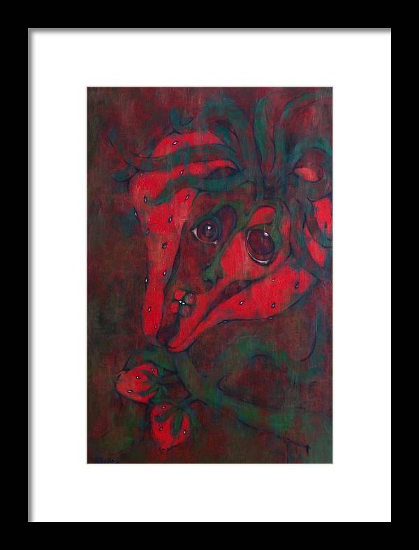 Red Framed Print featuring the painting Red Kiss by Claudia Padilla