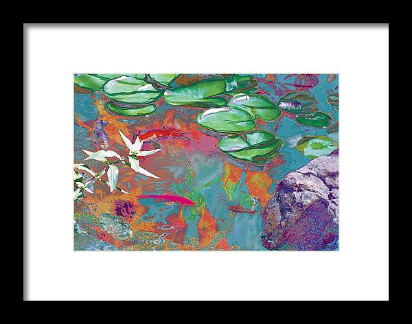 Koi Framed Print featuring the photograph Red Koi In Green Disguise by Judy Loper