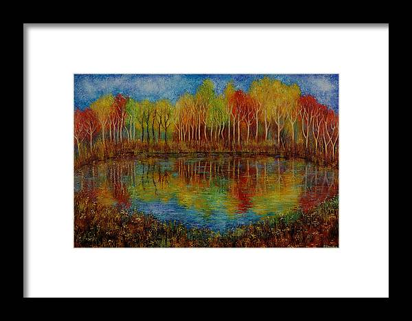 Landscape Framed Print featuring the painting Red Lake. by Evgenia Davidov