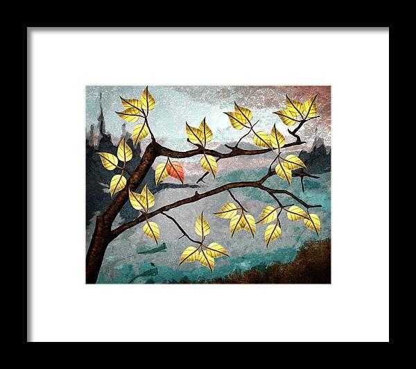 Digital Art Framed Print featuring the digital art Red Leaf by Ken Taylor