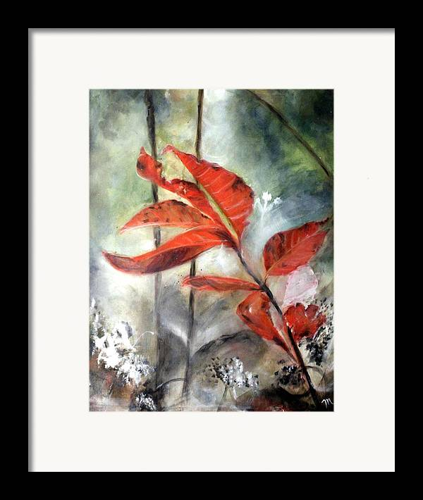 Red Leaf Framed Print featuring the painting Red Leaves In Morning Mist by Michela Akers