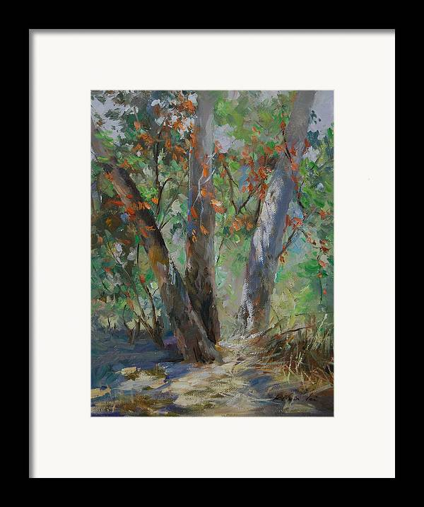 Landscape Framed Print featuring the painting Red Leaves by Kelvin Lei