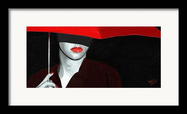 Impressionism Framed Print featuring the painting Red Lips And Umbrella by James Shepherd