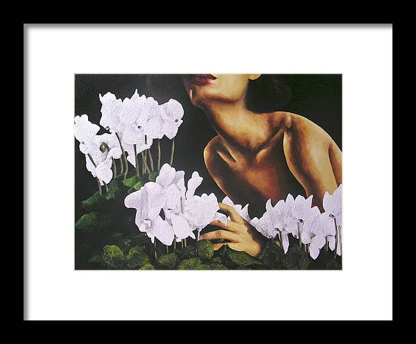 Nude Framed Print featuring the painting Red Lips White Flowers by Trisha Lambi