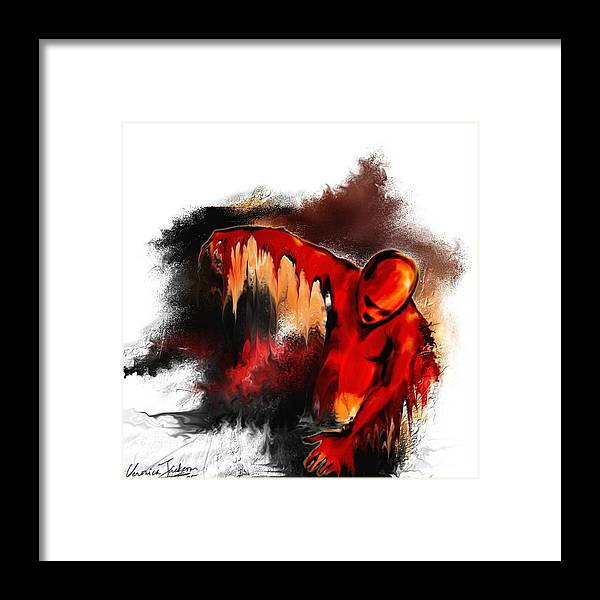 Red Man Passion Sureall Fire Framed Print featuring the digital art Red Man by Veronica Jackson