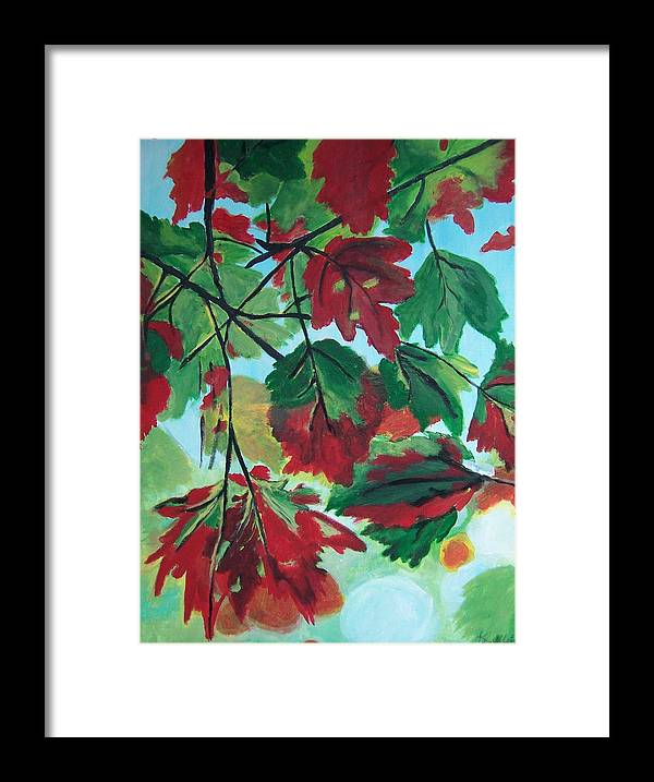 Forest Framed Print featuring the painting Red Maple by Krista Ouellette