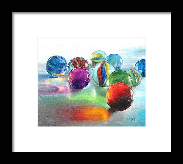Marbles Framed Print featuring the drawing Red Marble Reflections by Carla Kurt
