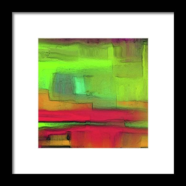Abstract Framed Print featuring the painting Red Meets Green by Daniel Benson