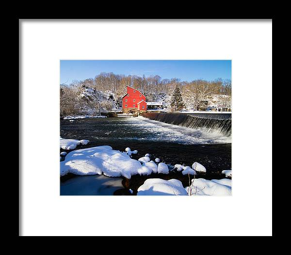 Blue Sky Framed Print featuring the photograph Red Mill In Winter Landscape by George Oze