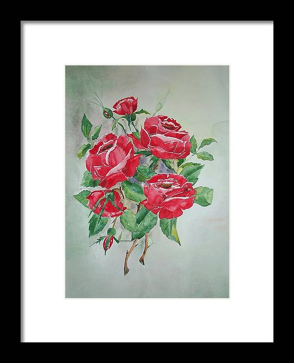 Roses Flowers Framed Print featuring the painting Red Morning Roses by Irenemaria
