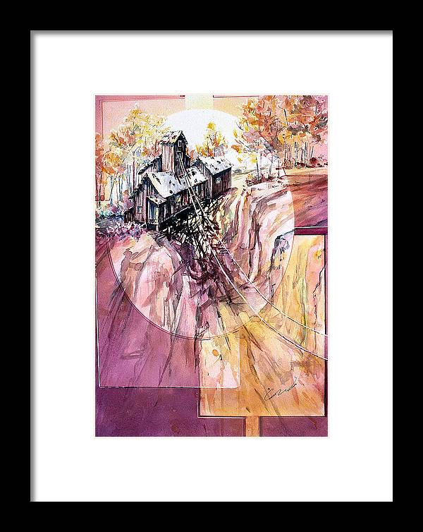 Red Mountain Framed Print featuring the painting Red Mountain Mine by Connie Williams