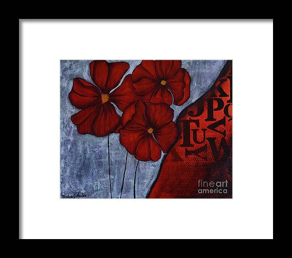 Framed Print featuring the painting RED by Nadine J Larder
