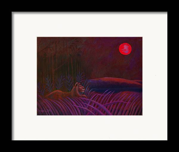 Lions Framed Print featuring the painting Red Night Painting 48 by Angela Treat Lyon