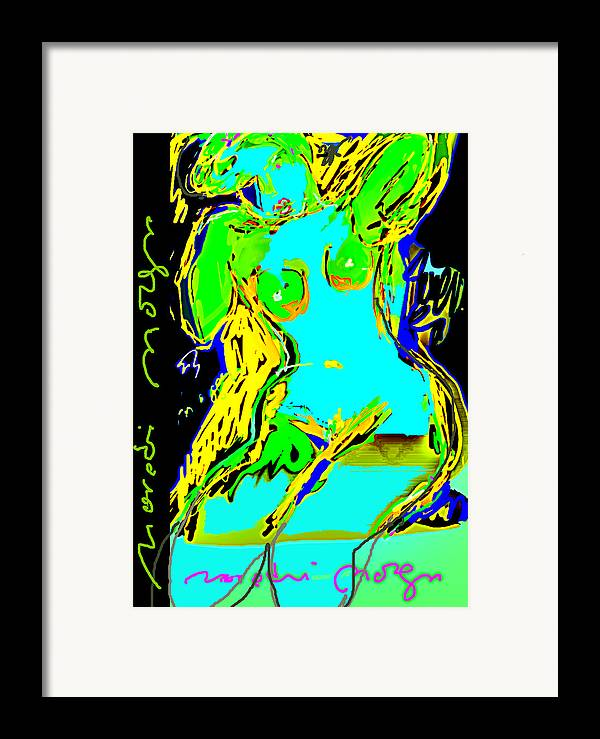 Drawing Framed Print featuring the painting Red Nude by Noredin Morgan