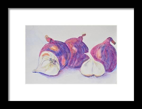 Still Life Of Red Onions And Garlic Framed Print featuring the painting Red Onions And Garlic by Jonathan Galente