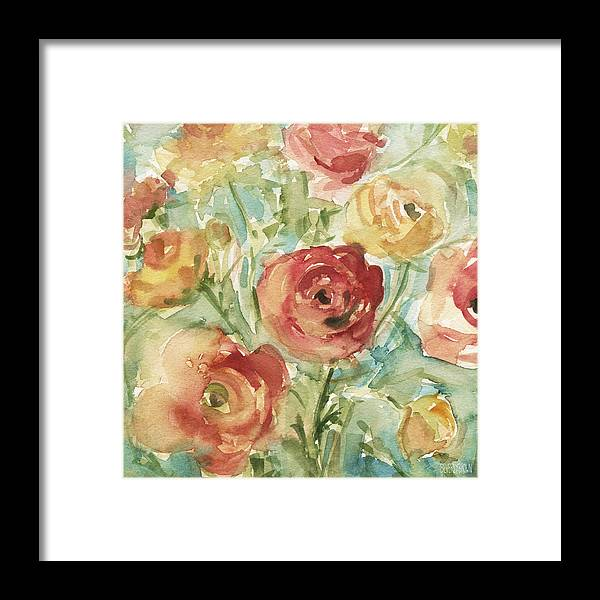Floral Framed Print featuring the painting Red Orange And Yellow Ranunculus by Beverly Brown