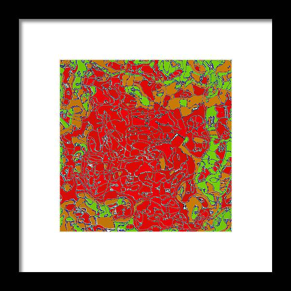 Red Framed Print featuring the digital art Red Orange Green Abstract Painting by Lenka Rottova