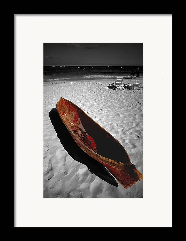 Photography Framed Print featuring the photograph Red Paddle Boat Playa Del Carmen by Tom Fant