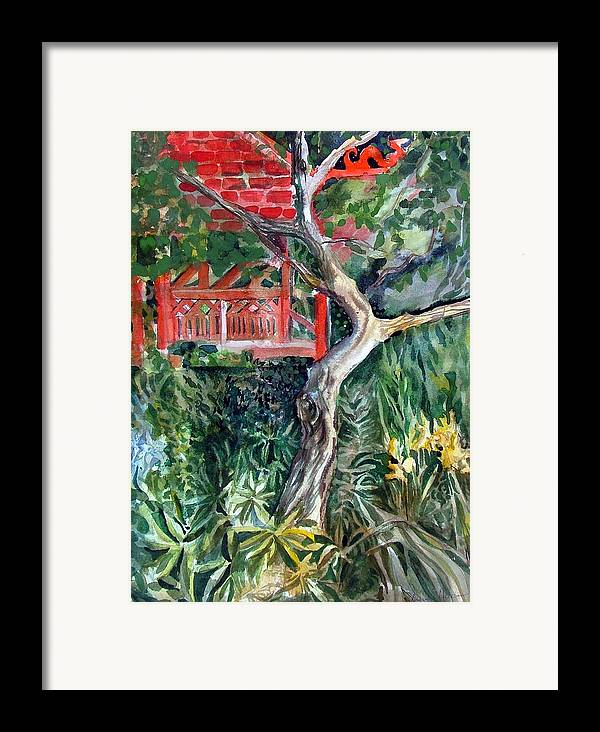 Watercolor Framed Print featuring the painting Red Pagoda by Mindy Newman
