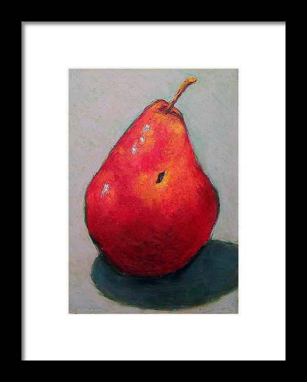 Pear Framed Print featuring the pastel Red Pear by Joyce Geleynse