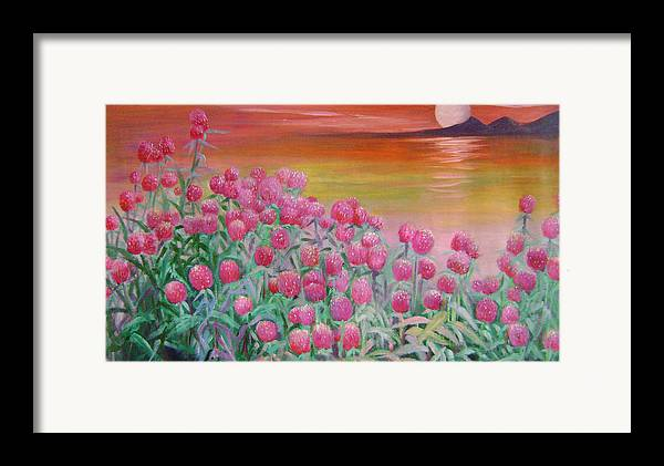 Floral Framed Print featuring the painting Red Pearls by Lian Zhen