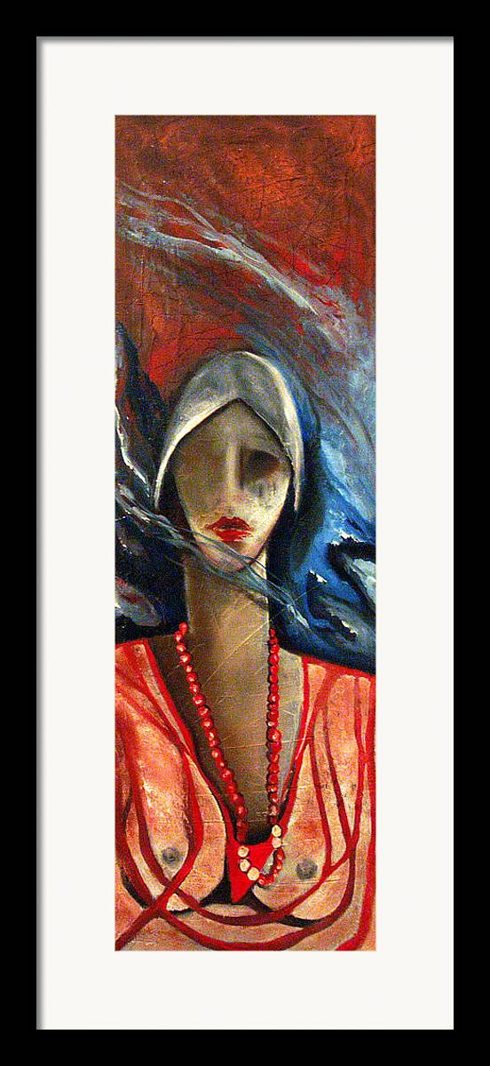 Red Pearls Woman Semi Nude Framed Print featuring the painting Red Pearls by Niki Sands