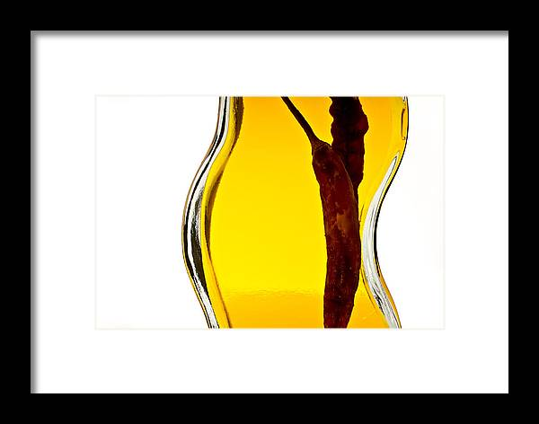 Red Pepper Framed Print featuring the photograph Red Pepper In Olive Oil by Onyonet Photo Studios