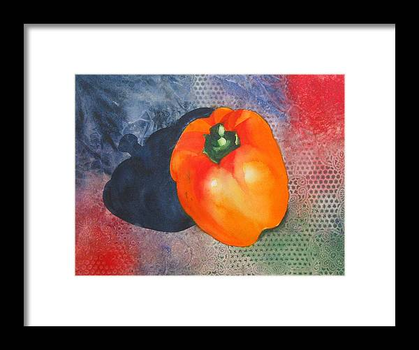 Pepper Framed Print featuring the painting Red Pepper Solo by Jean Blackmer