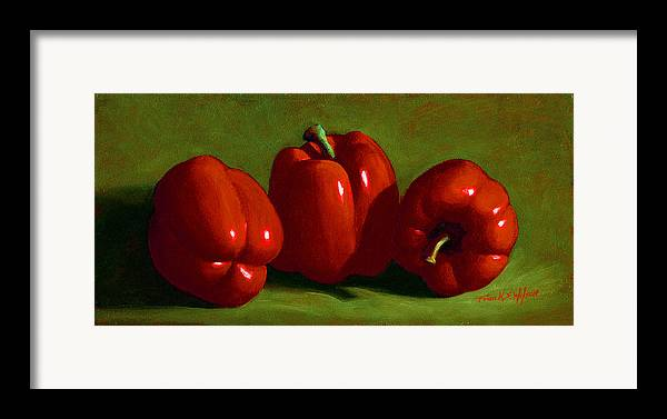 Red Peppers Framed Print featuring the painting Red Peppers by Frank Wilson