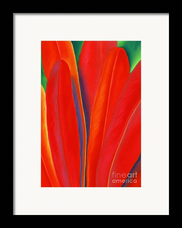 Red Framed Print featuring the painting Red Petals by Lucy Arnold