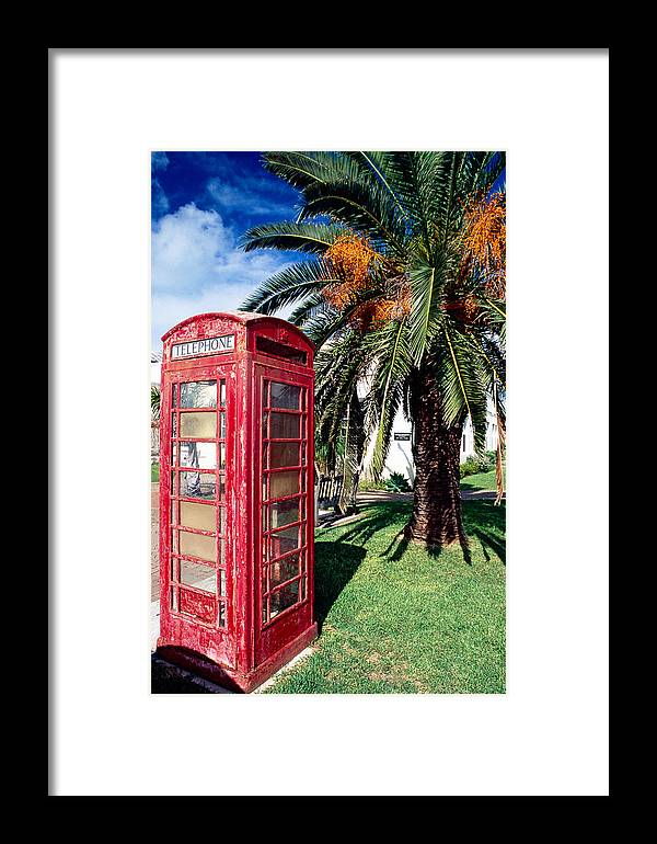 Atlantic Ocean Framed Print featuring the photograph Red Phone Booth Bermuda by George Oze