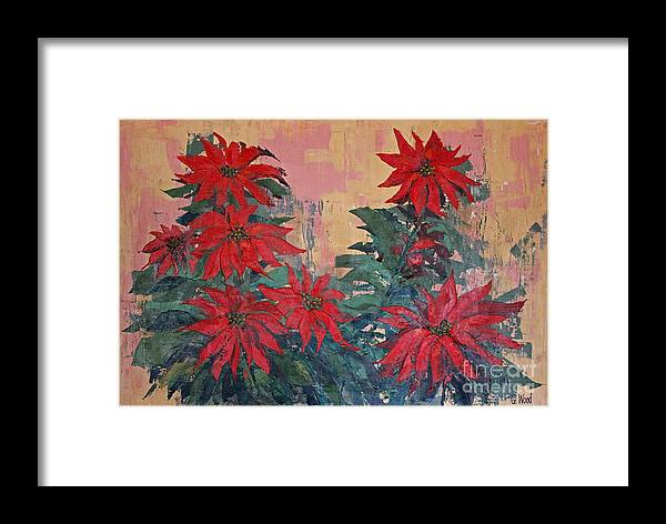 Advent Framed Print featuring the painting Red Poinsettias By George Wood by Karen Adams