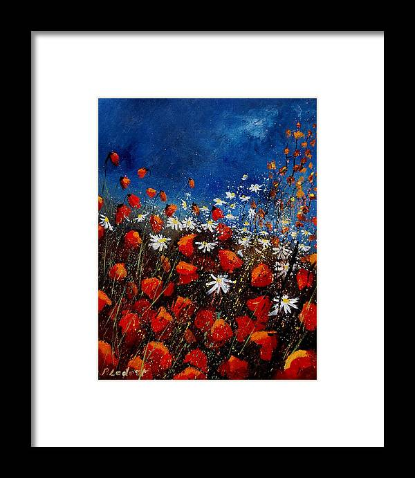 Flowers Framed Print featuring the painting Red Poppies 451108 by Pol Ledent